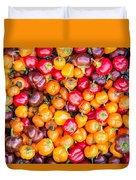 Fresh Colorful Hot Peppers Duvet Cover