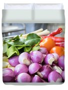 Fresh Ingredients For Cooking Chicken Curry Sauce Closeup Duvet Cover
