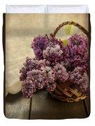 Fresh Lilacs In Brown Basket Duvet Cover