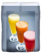 Fresh Orange Carrot And Watermelon Fruit Juice Duvet Cover