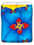 Fresh Orange Red And Blue Abstract Fractal Art Duvet Cover