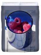 Fresh Raspberries In A Blue Cup Duvet Cover