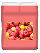 Freshly Harvested Colorful Crimson Crisp Apples On Display At Th Duvet Cover