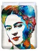 Frida Kahlo Art - Viva La Frida - By Sharon Cummings Duvet Cover