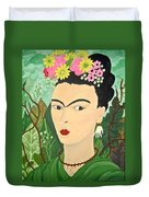 Frida With Flowers Duvet Cover