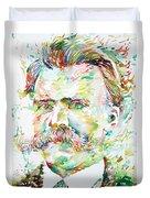 Friedrich Nietzsche Watercolor Portrait Duvet Cover