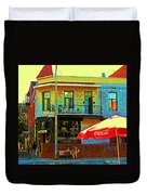 Friends On The Bench At Cartel Street Food Mexican Restaurant Rue Clark Art Of Montreal City Scene Duvet Cover