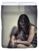 Frightened Woman Duvet Cover