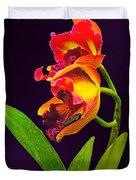Frilly  Red And Yellow Orchids Duvet Cover