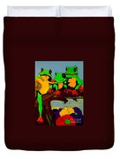 Frog Family Hanging Out On A Limb Duvet Cover
