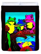 Frog Family Hanging Out On A Limb3 Duvet Cover