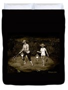 Frog Hunters Black And White Photograph Version Duvet Cover
