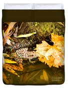 Frog In Water 3 Of 3 Duvet Cover