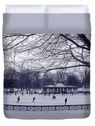 Frog Pond Skating Duvet Cover