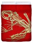 Frog Skeleton In Gold On Red  Duvet Cover