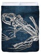 Frog Skeleton In Silver On Blue  Duvet Cover