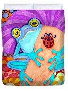 Frog Under A Mushroom Duvet Cover