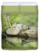 Bull Frog On A Rock Duvet Cover