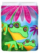 Froggies And Flowers Duvet Cover