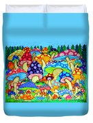 Frogs And Magic Mushrooms Duvet Cover