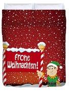 Frohe Weihnachten Sign Christmas Elf Winter Landscape Duvet Cover