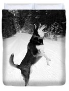 Frolicking In The Snow - Black And White Duvet Cover by Carol Groenen