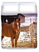 Frolicking In The Snow  Duvet Cover