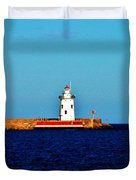 From A Distance    Harbor Beach Lighthouse Duvet Cover