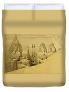 Front Elevation Of The Great Temple Of Aboo Simbel Duvet Cover by David Roberts