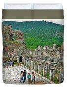 Front Of Theater In Ephesus-turkey Duvet Cover