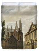 Front Of Trinity Hall, Cambridge Duvet Cover by Augustus Charles Pugin
