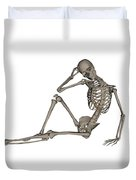 Front View Of A Human Skeleton Posing Duvet Cover