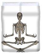 Front View Of Human Skeleton Meditating Duvet Cover