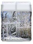 Front Yard Of A House In Winter Duvet Cover