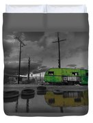 Front Yard Path Black And White Duvet Cover