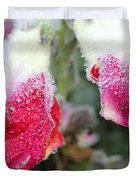 Frost Bears Down On Snapdragon Named Floral Showers Red And Yellow Bicolour Duvet Cover