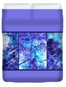 Frozen Castle Window Blue Abstract Duvet Cover