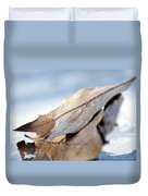 Frosty Leaves In The Morning Sunlight Duvet Cover