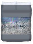 Frosty Window Distant Sun Duvet Cover