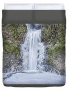 Frozen At Multnomah Falls Duvet Cover