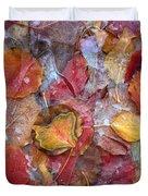 Frozen Autumn Aspen Leaves Duvet Cover