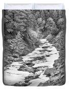 Frozen Boulder Creek Boulder Canyon Colorado Bw Duvet Cover