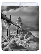 Frozen Grand Haven Lighthouse Black And White Duvet Cover