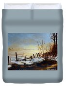 Frozen Lake Near Ste. Adele Duvet Cover