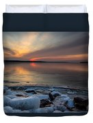 Frozen Lewis And Clark Lake Duvet Cover