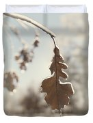 Frozen Oak Leaf Abstract Nature Detail Duvet Cover