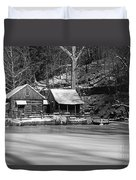 Frozen Pond In Black And White Duvet Cover