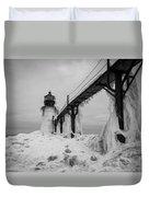 Frozen St. Joseph Lighthouse Duvet Cover