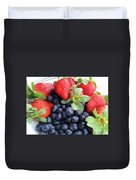 Fruit 2- Strawberries - Blueberries Duvet Cover by Barbara Griffin