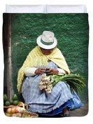 Fruit And Vegetable Vendor Cuenca Ecuador Duvet Cover